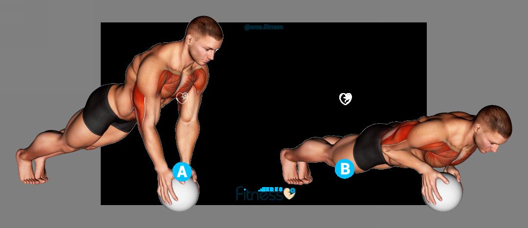 Flexiones de brazos agarre cerrado con balón medicinal